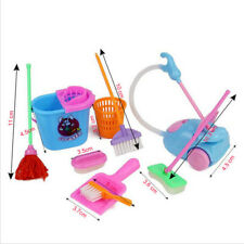 9Pcs Kids Play House Pretend Cleaning Bucket Dustpan Brush Mop Toys Set UK Nice