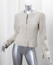 CHANEL 99A Light Gray Fitted Wool Zip Up Long Sleeve Jacket Coat sz. 4-36