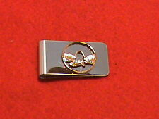 Hand cut Missouri quarter 24 kt gold plated and mounted as a money clip