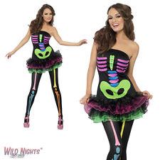 Halloween Vestido De Lujo # señoras fiebre Neon Esqueleto Disfraz Tamaño 8-18