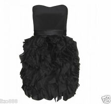 Notte by Marchesa Strapless silk ruffle party mini dress in black Sz 10