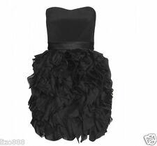 Notte de Marchesa bustier soie à volants Parti Mini Robe en Noir Sz 10
