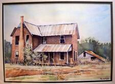 Original Watercolor Painting of an Old Country House and Barn, Framed