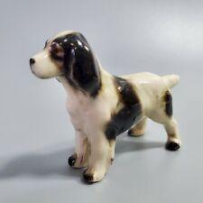Black & White Springer Spaniel Dog Standing Miniature Figurine Porcelain Vintage