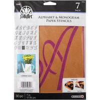 7 inch MONOGRAM STENCIL SET Script Letters Folkart Alphabet