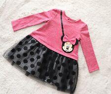 Girls Baby Kids Minnie Mouse Disney Lurex Dress Attached Handbag Pink 1- 6 Years