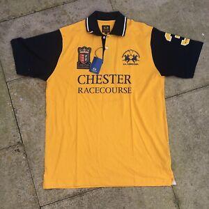 New Deadstock La Martina Short Sleeve Polo Size XL Chester Racecourse Yellow