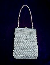Vintage Silver Metallic Mesh Signed EE by Eva Purse Hand Bag Made In Italy