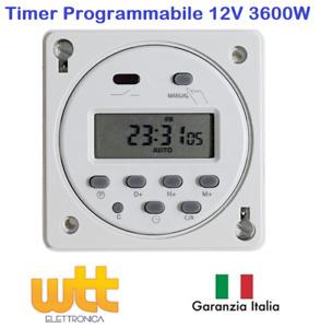 TIMER DIGITALE PROGRAMMABILE 12V 12 VOLT COME GUIDA DIN CACCIA NAUTICA E SOLARE
