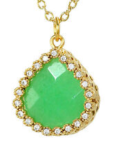 """Green Chrysopras Natural Stone Necklace Gold Plated Crystals 16"""" Chain"""