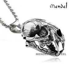 MENDE Mens Stainless Steel Saber Tooth Tiger Fossil Skull Pendant Necklace