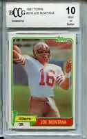 1981 Topps Football 216 Joe Montana 49ers Rookie Card Beckett Graded BCCG 10