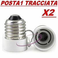 2 ADATTATORE CONVERTITORE LAMPADE DA E27 A E14 PL420 PER LAMPADE LAMPADINE CASA