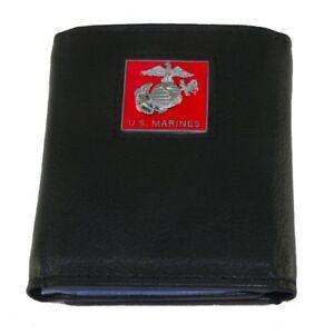 Marine Corps Mens Leather Trifold Wallet USMC Military Veteran Black Emblem