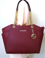 Michael Kors Jet Set Chain Mulberry Saffiano Leather Large Shoulder Tote Bag