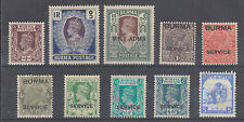 Burma Sc 22//2N54 MLH. 1938-1942 issues, 10 different, F-VF or better