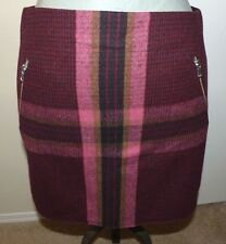 GAP Black/Burgundy Plaid Wool Blend Short Skirt - Size 14 - New with Tags!