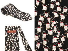 "Rare Unique Penguin Tie Novelty Museum Artifacts 100% Silk Black Tie 57"" L"
