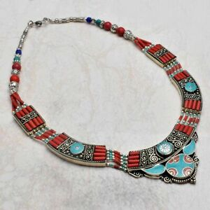Tibetan Turquoise Coral Handmade Big Necklace Jewelry 122 Gms LBN 5618