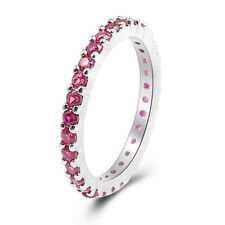 Xmas 925 Silver Ring Gemstones Ring CZs Stackable Eternity Ring Sz5 6 7 8 9