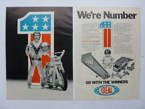 RARE Vtg 1974 DEALER 2-page Ad  Ideal Evil Knievel #1 Scramble Van Action Figure