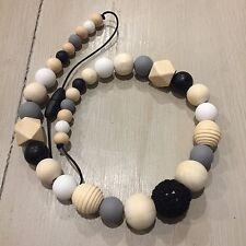 Sensory Nursing Necklace, BPA Free Silicone & Wood 65cm Natural OrganicHand Made