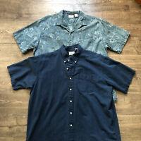 *Lot of 2* LL Bean Men's XL 100% Cotton Short Sleeve Button Down Shirt