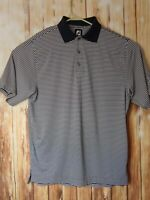 FootJoy FJ Mens Golf Blue/White Short Sleeve Striped Polo Shirt Size Medium