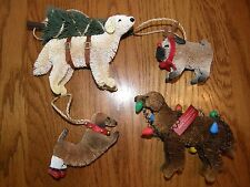 Set 4:Pottery Barn Bottle Brush Dog Christmas Ornaments-Pug,Lab,Doxie,Lights,Tre