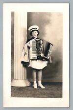 Accordion-Playing Girl RPPC Fostoria Ohio—Marching Band—Vintage Music Photo 40s