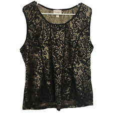 Dress Barn Blouse Size 3X Tank Top Black Gold Stretch Lace