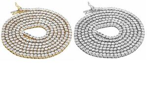 Yellow / White Gold Finish 1 Row Diamond Chain Necklace 3.5MM 2.25 Ct 34 Inches