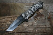 Master USA Spring Assisted Tactical Serrated Pocket Knife with Skull Design  and
