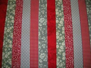 """12 JELLY ROLL STRIPS   44"""" X 2.5"""" GREY & RED 100% COTTON PATCHWORK/QUILT GYR"""