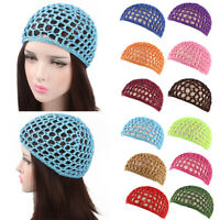 Womens Mesh Hair Net Crochet Cap Solid Snood Sleeping Night Cover Turban Hats UK