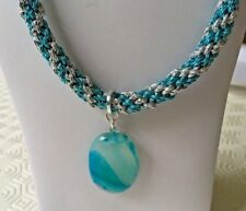 """Dyed Turquoise Agate Pendant on Silver & Turquoise Kumihimo 25"""" Cord"""