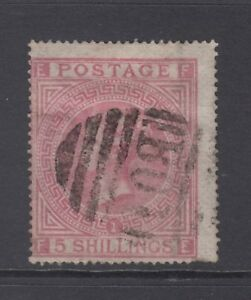 GB QV 5s. Pale Rose SG127 Plate 1 Used Abroad at Alexandria B01 5/- Stamp SGZ41