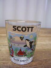 San Diego Scott Name Seaworld Sea World Zoo Clear Shot Glass Bar Califonia