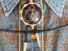 NEW SCORPION BLACK SETTING BOLO TIE GOLD METAL  LEATHER CORD,WESTERN,GOTH