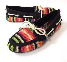 NWOB The Sak Bella Womens 8 Multicolor Stripe Crochet Flats Moccasin Boat Shoes