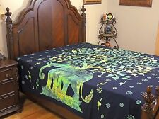 Green Elephant Tree of Life Bedding Cotton Wall Tapestry Bed Sheet Linens ~ Full