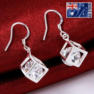 New 925 Sterling Silver Filled Crystal Cubic Drop Dangle Hook Earrings Wholesale
