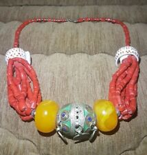 African Moroccan Berber Necklace Jewelry Amber Resin Beads - Morocco - Tiznit