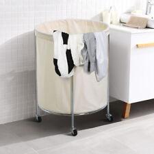 Large Round Laundry Basket Hamper Clothes Storage Bag Bin Cart Sorter w/ Wheels