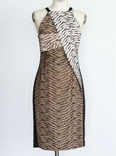 ROLAND MOURET Dress Sahara Tiger Embroidered Tule SOLD OUT nwt  6