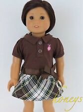 For America Girl Dolls Clothes Brown Plaid Dress With Hair Ribbon and Snack Tray