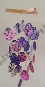Ladybird ladybug capiz shell windchime Bali handmade Pink Purple White FREEPOST