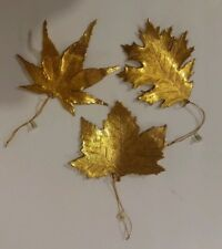 Katherine's Collection Gold Bronze Copper Metal Leaf Ornament Set x3 Leaves Fall