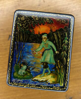 "Small Vintage Russian Lacquer box "" prince and a frog "" Hand Painted Signed"