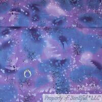 BonEful Fabric FQ Cotton Quilt Purple Navy Blue White Water Blender Leaf Fern US
